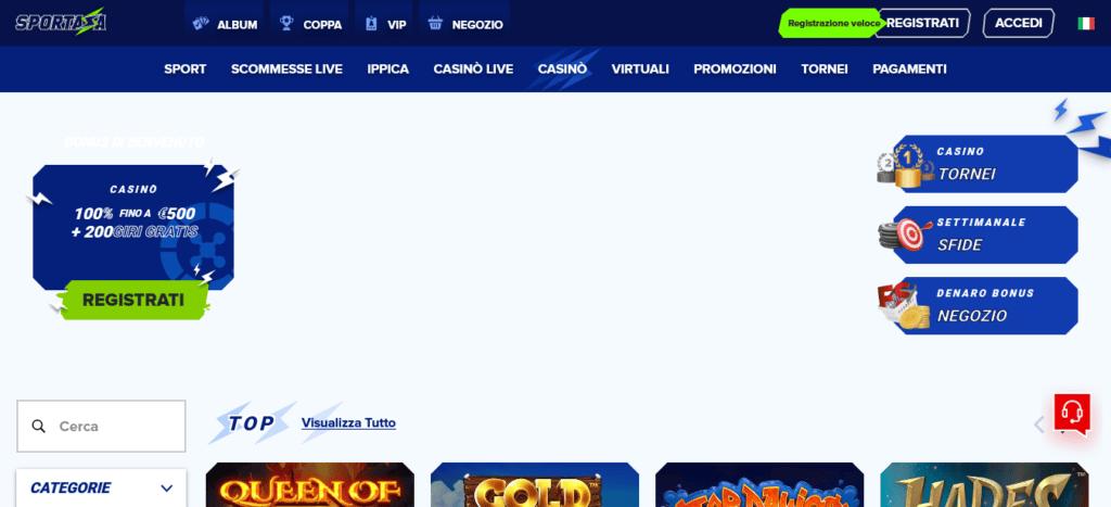homepage Sportaza Casinò